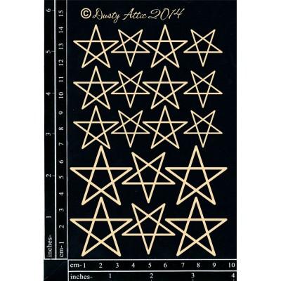 Dusty Attic - Chipboard  «Stars #3» 18 pièces