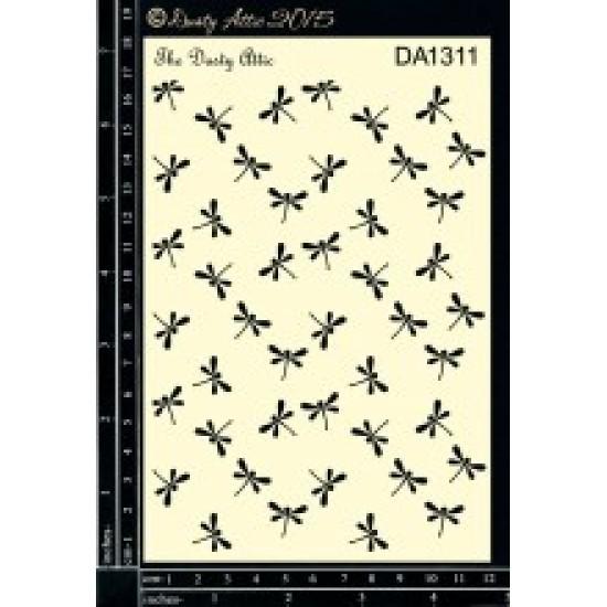 "Dusty Attic - Stencil 4"" X 6"" modèle «Dragonflies»"