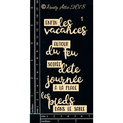 Dusty Attic - Chipboard  «French Mini Captions Vacances»