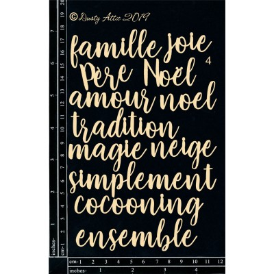 Dusty Attic - Chipboard «French mini Words #4»