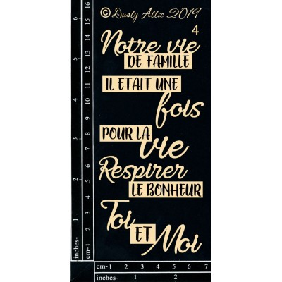 Dusty Attic - Chipboard  «French Mini Captions #4»
