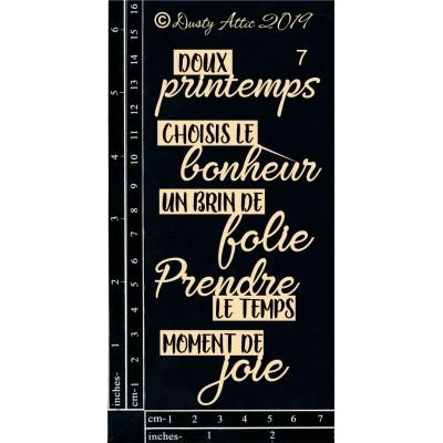 Dusty Attic - Chipboard  «French Mini Captions #07»