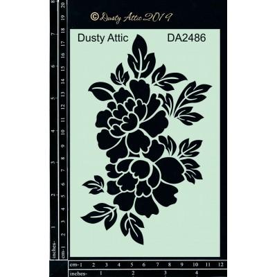 """Dusty Attic - Stencil 4"""" X 6"""" modèle «Floral»"""