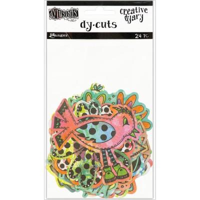 Dylusions - Éphéméra «Colored Birds and Flowers» 24 pcs