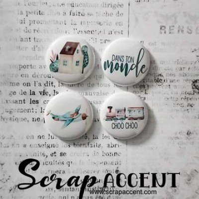 """Scrap Accent - Badges modèle """"Dans mon monde """""""