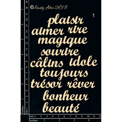 Dusty Attic - Chipboard «French mini Words #1»