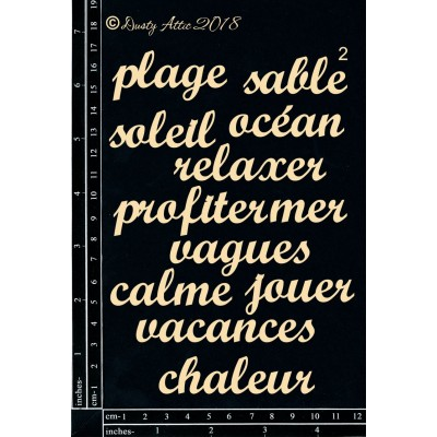 Dusty Attic - Chipboard «French mini Words #2»