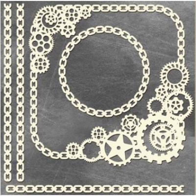 LIQUIDATION- Fabrika Decoru - Chipboard «Steampunk - Square MEGA» (Le prix indiqué ci-dessous est déjà à 50% de rabais)