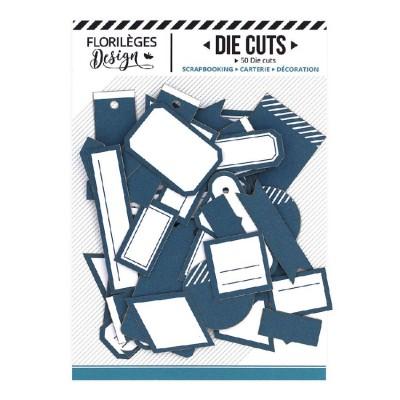 PRÉCOMMANDE-  Florilèges Design - Éphéméra «Etiquettes N°01 Bleu Canard» 50 pièces