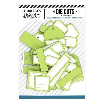 PRÉCOMMANDE-  Florilèges Design - Éphéméra «Etiquettes N°02 Vert Bourgeon» 50 pièces