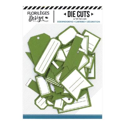 PRÉCOMMANDE-  Florilèges Design - Éphéméra «Etiquettes N°05 Vert Feuillage» 50 pièces