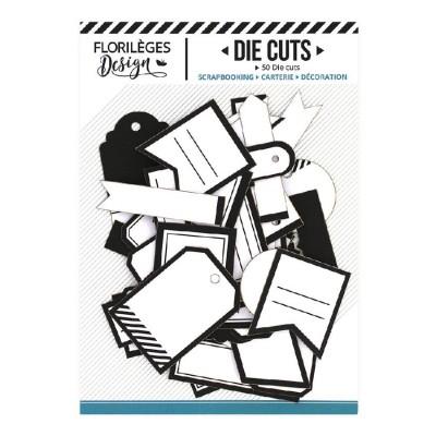 PRÉCOMMANDE-  Florilèges Design - Éphéméra «Etiquettes N°09 blanc et noir» 50 pièces