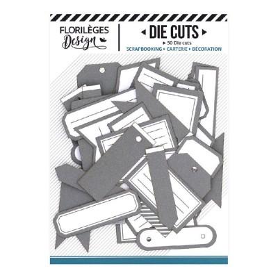 PRÉCOMMANDE-  Florilèges Design - Éphéméra «Etiquettes N°10 gris orage» 50 pièces