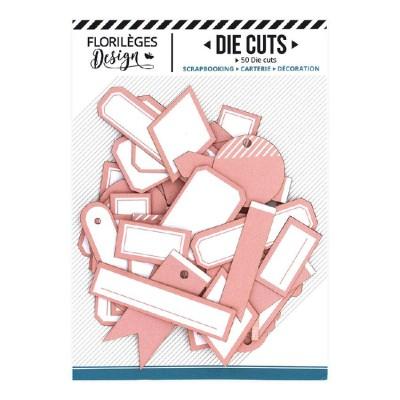 PRÉCOMMANDE-  Florilèges Design - Éphéméra «Etiquettes N°16 Rose Corail» 50 pièces