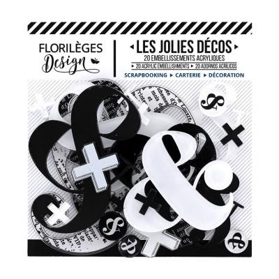 Florilèges Design - Ensemble d'éphéméras en acrylique «Esperluettes» 20 pièces