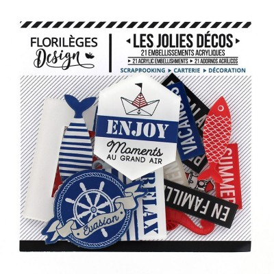 Florilèges Design - Ensemble d'éphéméras «Bord de mer» 21 pièces
