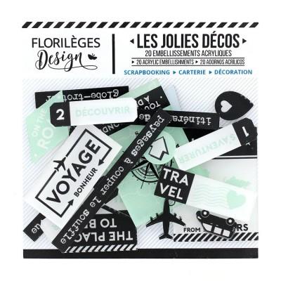 Florilèges Design - Ensemble d'éphéméras en acrylique «Invitation Au Voyage» 21 pièces