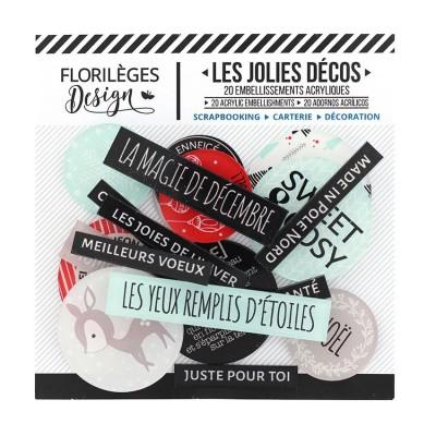 Florilèges Design - Ensemble d'éphéméras en acrylique «Sweet and Cosy» 20 pièces