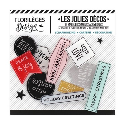 Florilèges Design - Ensemble d'éphéméras en acrylique «Holiday Greetings» 12pièces