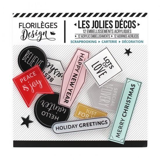 LIQUIDATION- Florilèges Design - Ensemble d'éphéméras en acrylique «Holiday Greetings» 12pièces (Prix indiqué est réduit de 50%)