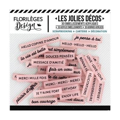 Florilèges Design - Ensemble d'éphéméras en acrylique «Mots doux Rose thé » 30 pièces