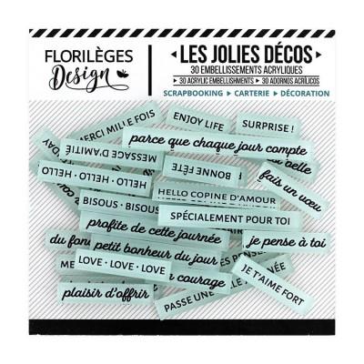 Florilèges Design - Ensemble d'éphéméras en acrylique «Mots doux Celadon» 30 pièces