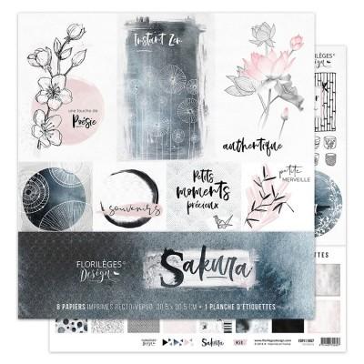 """Florilèges Design - Ensemble de papier «Sakura» 12"""" x 12""""  8 feuilles recto-verso"""