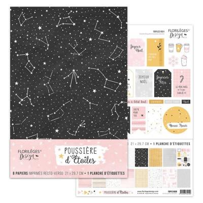 """Florilèges Design - Ensemble de papier «Poussière d'étoiles» 8.5"""" x 11""""  8 feuilles recto-verso"""