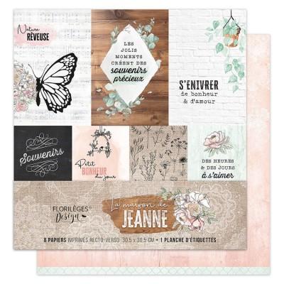 """Florilèges Design - Ensemble de papier «La maison de Jeanne» 12"""" x 12""""  8 feuilles recto-verso"""
