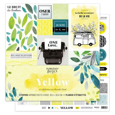 "Florilèges Design - Ensemble de papier «Yellow» 12"" x 12""  8 feuilles recto-verso"