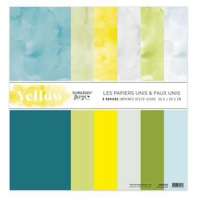 """Florilèges Design - Ensemble de papier «Kit unis Yellow» 12"""" x 12""""  6 feuilles recto-verso"""