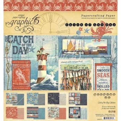 """PRÉCOMMANDE- Graphic 45 - «Catch Of The Day» Ensemble de papier 8 x 8""""  24 feuilles"""