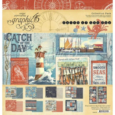 "Graphic 45 - «Catch Of The Day» Ensemble de papier 12"" X 12""  16 feuilles"