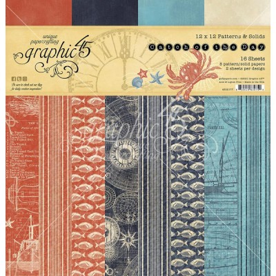 """PRÉCOMMANDE- Graphic 45 - «Catch Of The Day» Patterns and Solids 12"""" X 12""""  16 feuilles"""