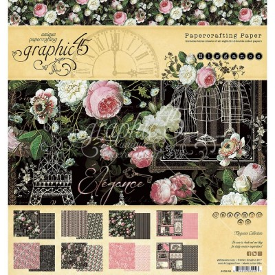 """PRÉCOMMANDE- Graphic 45 - «Elegance» Ensemble de papier 8 x 8""""  24 feuilles"""