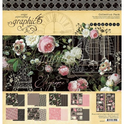 """Graphic 45 - «Elegance» Ensemble de papier 12"""" X 12""""  16 feuilles"""