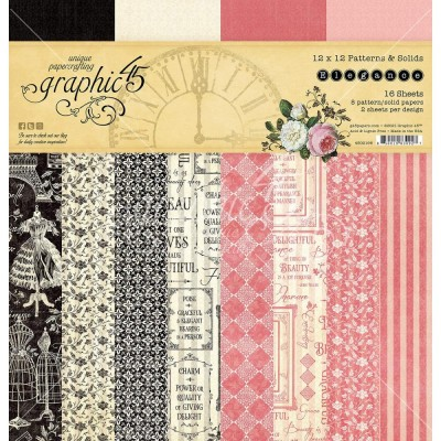 "PRÉCOMMANDE- Graphic 45 - «Elegance» Patterns and Solids 12"" X 12""  16 feuilles"