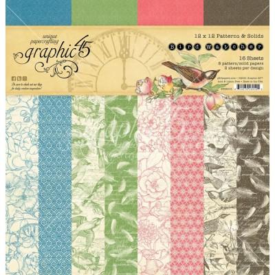 "PRÉCOMMANDE- Graphic 45 - «Bird Watcher» Patterns and Solids 12"" X 12""  16 feuilles"