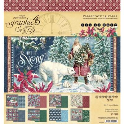 """PRÉCOMMANDE- Graphic 45 - «Let It Snow» Ensemble de papier 8 x 8""""  24 feuilles"""
