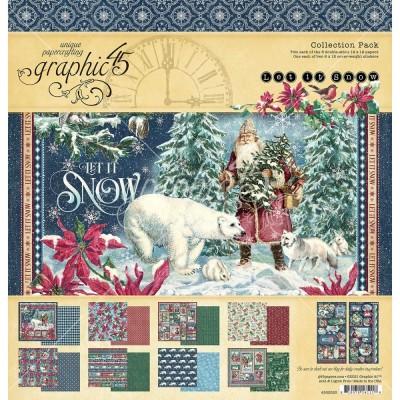 """PRÉCOMMANDE- Graphic 45 - «Let It Snow» Ensemble de papier 12"""" X 12""""  16 feuilles"""