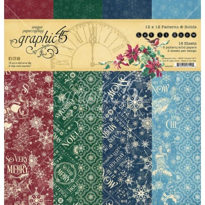 """PRÉCOMMANDE- Graphic 45 - «Let It Snow» Patterns and Solids 12"""" X 12""""  16 feuilles"""