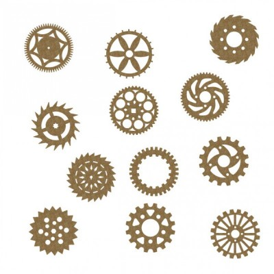 Creative Embellishments - Chipboard «Gear set 2 large» 12 pièces