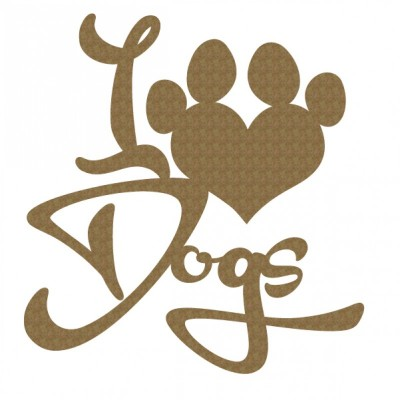 Creative Embellishments - Chipboard «I love dogs»
