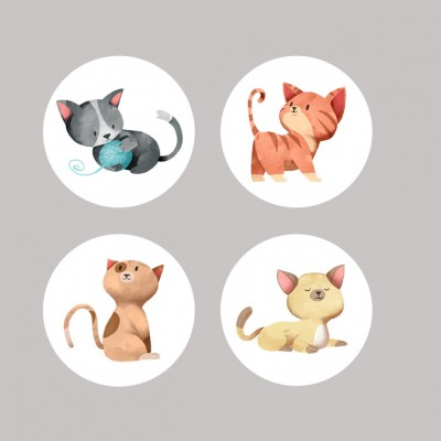 Scrap Fimo - Badges «Chats» grand format 1.5""