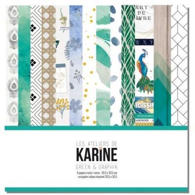 """Les Ateliers de Karine - Ensemble de papier «Green and Graphik» 12"""" x 12""""  6 feuilles recto-verso"""
