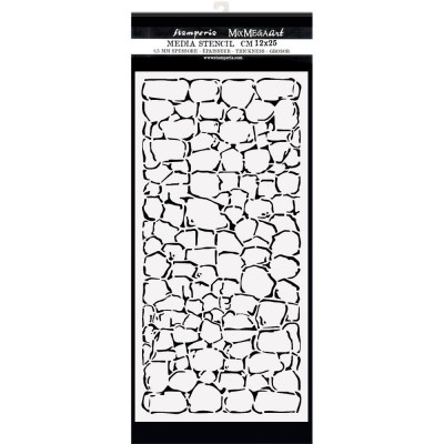 "PRÉCOMMANDE- Stamperia - Stencil «Lady Vagabond Lifestyle/Stone Wall» 4.72"" X 9.84"""