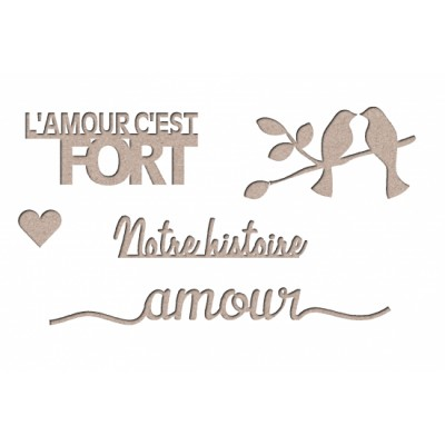 "Les 2 Miss scrapbooking - Chipboard «Kit amour 1""»"