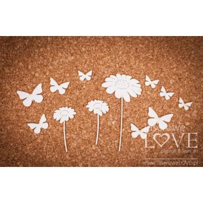 Laserowe - Chipboard «Fleurs et papillons» LA16100611