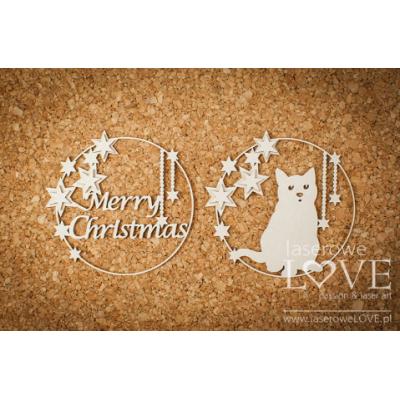 Laserowe - Chipboard «Cadre de Noël avec chat» LA18722