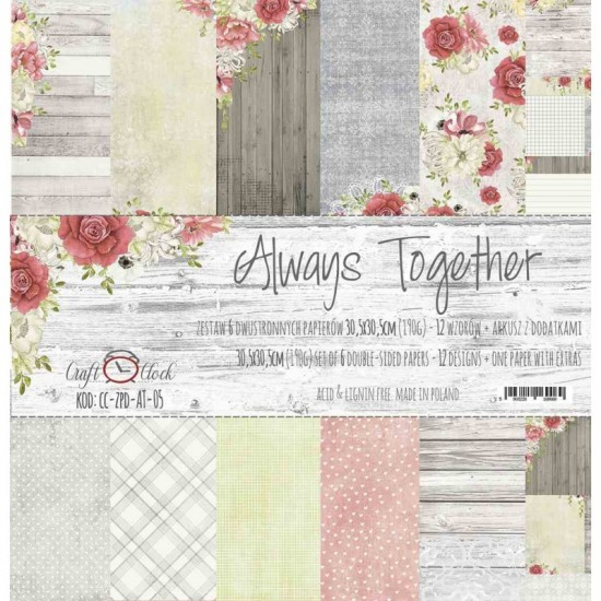 """Lemoncraft - """"Always together"""" ensemble de papier  6 feuilles 12"""" X 12"""""""